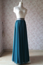 Chiffon Bridesmaid Maxi Skirt High Waist Chiffon Maxi Skirt Teal blue Plus Size image 2