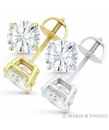 2.50ct Round Brilliant Cut Moissanite 14k Gold Stud Earrings Charles and... - $649.49