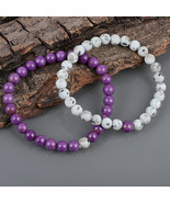Couple Bracelet, Phosphosiderite & Black Dot Jasper 7 MM Beads Stretch B... - $24.99+