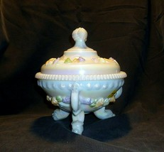3 Dragon Footed Compote w Lid Milk Glass Candy Dish Westmoreland Iridesc... - $148.49