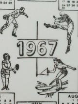 """VINTAGE 10"""" PORCELAIN COLLECTOR PLATE 1967 CALENDAR 22 KT GOLD BOWLING FOOTBALL image 2"""