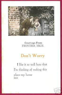 Frontier MI Greetings Couple Postcard Michigan BJs