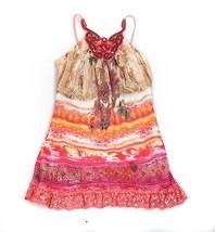 Sara Sara Dress Beaded Spaghetti Strap Lace Sequins Pink Orange Chiffon ... - $19.79