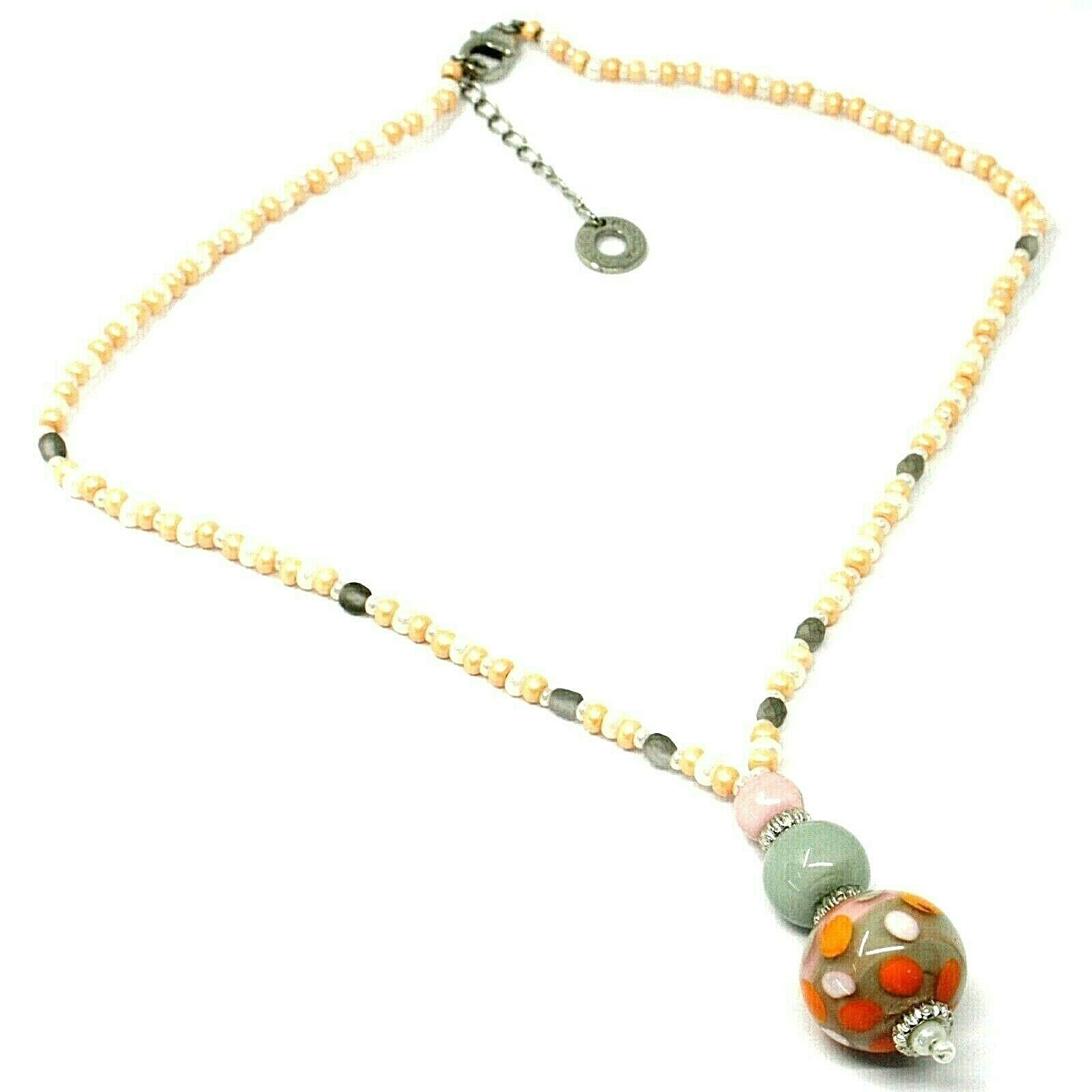 Necklace Antica Murrina Venezia, CO965A25 Pink Orange, Sphere Polka dot, Pendant