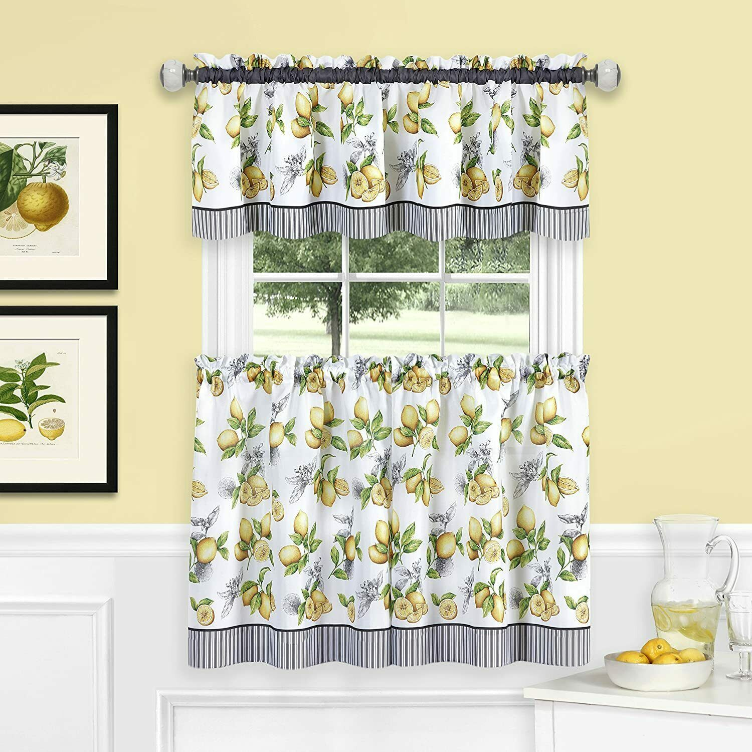 Primary image for Achim Home Furnishings, Yellow Lemon Drop Tier and Valance Window Curtain Set, 5