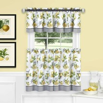 Achim Home Furnishings, Yellow Lemon Drop Tier and Valance Window Curtai... - $32.02+