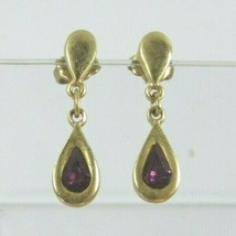 Vintage Faux Amethyst Drop Dangle Earrings Pierced 31462 Purple Lilac La... - $17.81