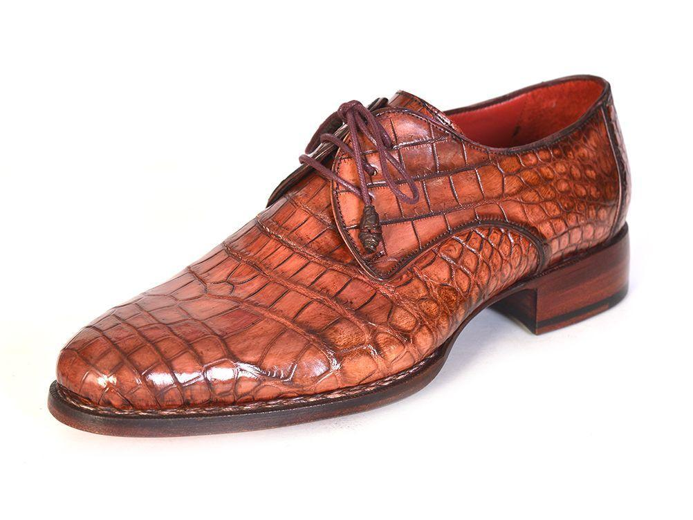 Paul Parkman Genuine Crocodile Goodyear Welted Derby Shoes