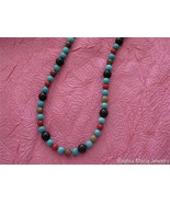 """18"""" Gemstone Turquoise Necklace on Silver Chain Fashion Necklace Handmade USA - $18.81"""