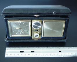Vintage Folding Travel Alarm Clock Radio Genuine Leather Case 1960's - $69.00