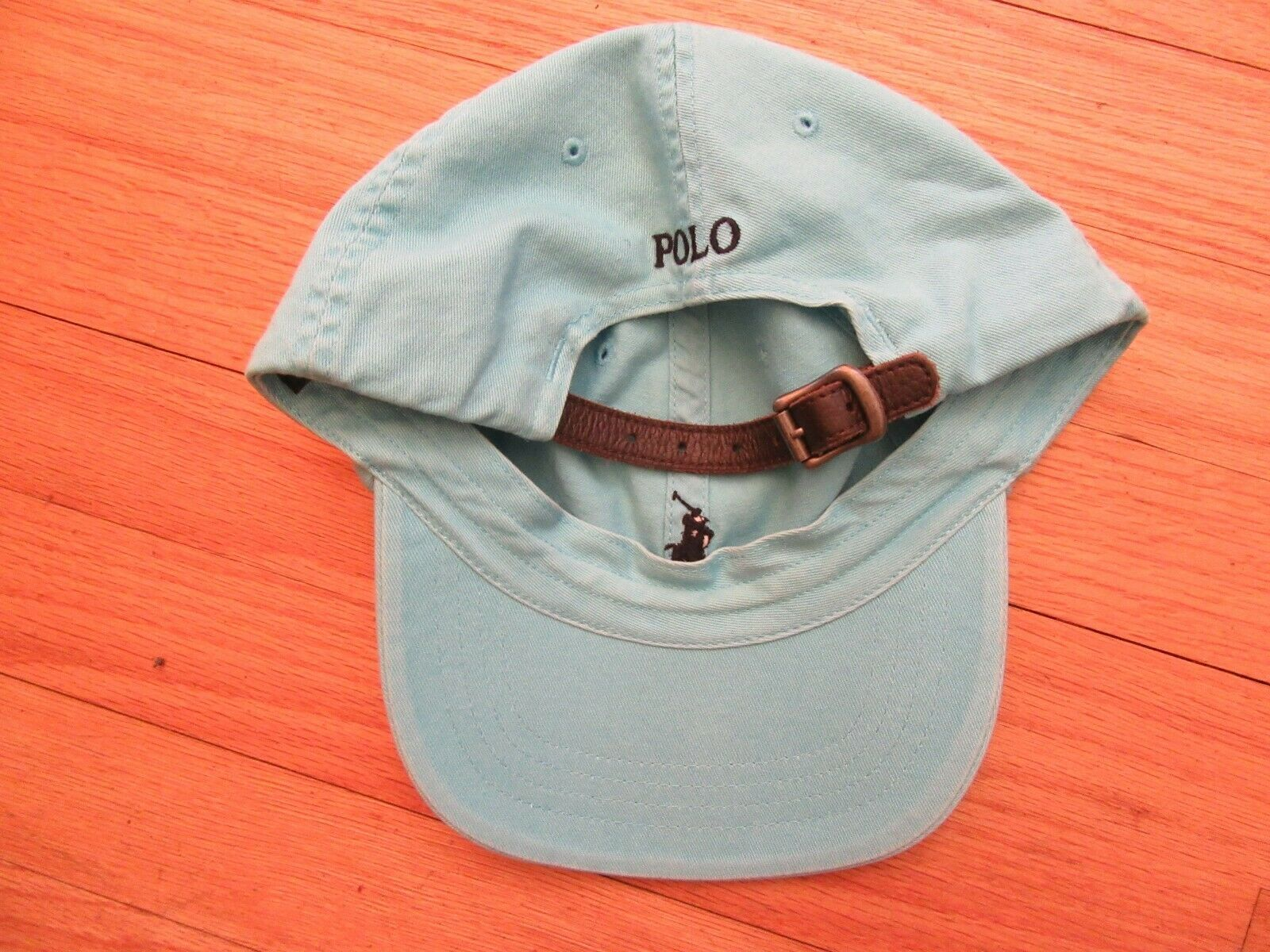 95608c19 10G/POLO RALPH LAUREN BLUE BASEBALL CAP/ADJUSTABLE/LEATHER STRAP/PONY!