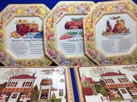 Avon Hospitality Recipe Metal Serving Plates 3 Vintage 2 Box England Chr... - $15.79