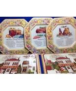 Avon Hospitality Recipe Metal Serving Plates 3 Vintage 2 Box England Chr... - $15.79