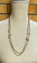 Vintage Sarah Cov Gold Toned Chain Necklace Beads & Faux Pearls Sarah Co... - $8.86