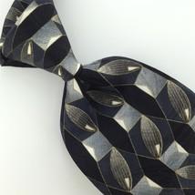 Zylos George Machado Black Gray Navy Geometric Silk Mens Neck Tie H1-372 Euc - $15.83