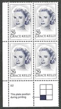 1993 Grace Kelly Plate Block of 4 US Postage Stamps Catalog Number 2749 MNH