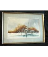 Steve Polomchak Watercolor Painting Signed, Framed, Matted, Covered Bridge  - $900.00