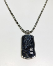 David Yurman Pietersite Large Dog Tag in Silver with Chain - $1,700.00