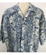 Tommy Hilfiger Aloha Hawaiian Blue Floral Shirt Woody Surf Boards Server... - $24.74