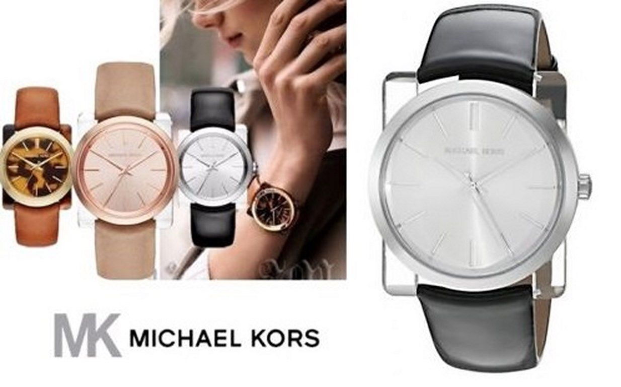 82e028788d01 S l1600. S l1600. Previous. new + box women s MICHAEL KORS MK2483 KEMPTON  Shiny Black Leather Bracelet WATCH. new + box ...