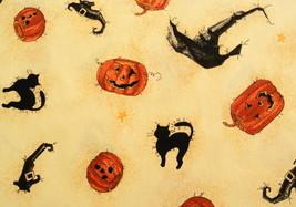 """1996 """"Broomzelda Hat & Pumpkins"""" Spooky Black Cats on Golden Cotton 40""""x44""""  - $8.50"""