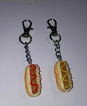 BFF Hot Dog Keychain Set Fob Accessory Charms Ketchup Mustard Food Charms - $7.00