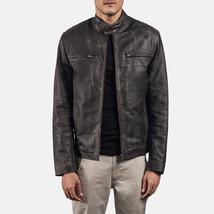 Men Distressed Brown Leather Biker Jacket Coat For Men - $160.00