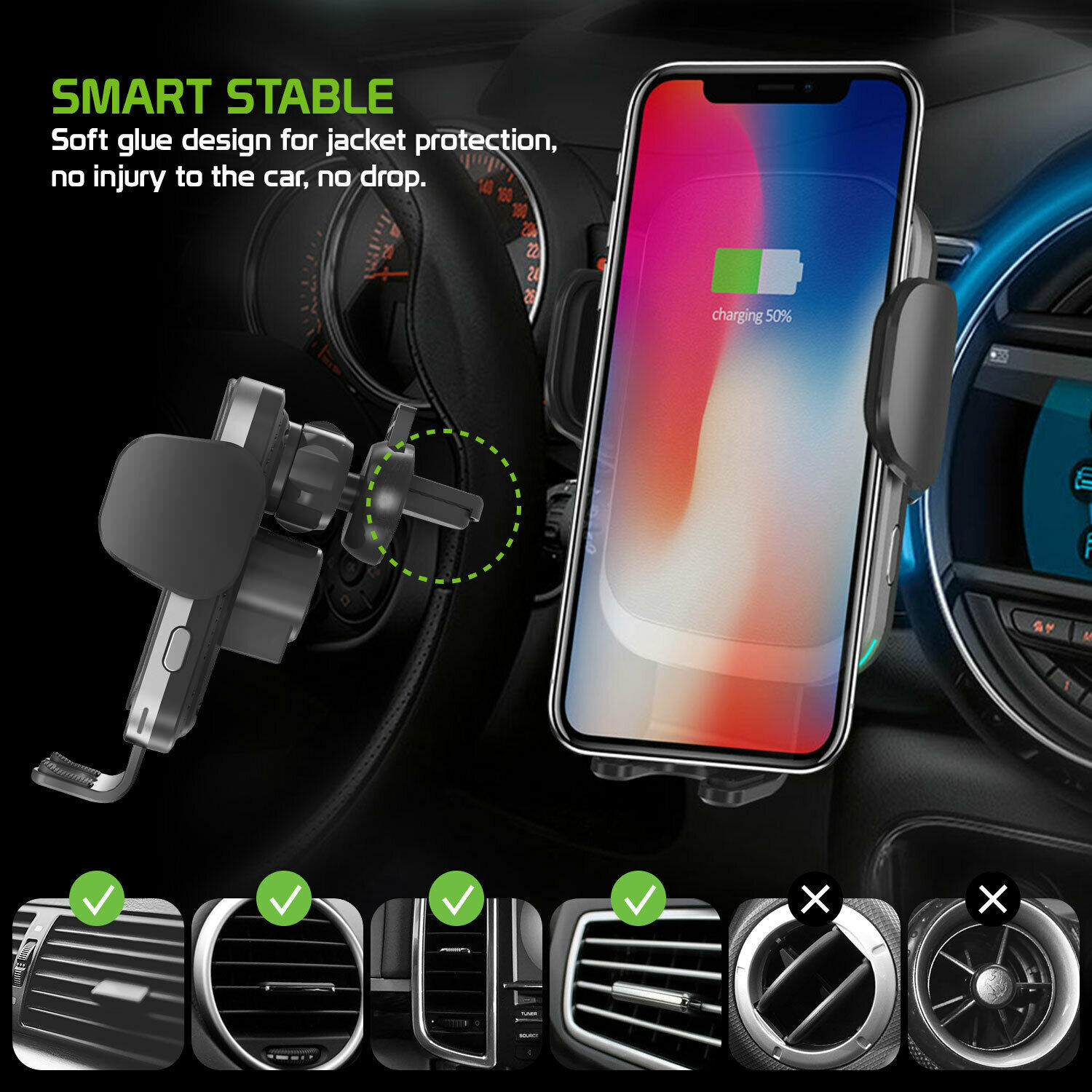 Cellet QI Wireless Fast Charge Phone Mount Dashboard Air Vent for iPhone Note 10 image 3