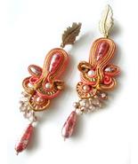 Red Earrings, Unique Earrings, Statement Earrings, Long, Beadwork Earrin... - $52.00