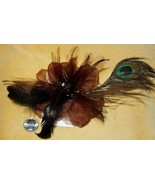 BROWN GOTHIC GOTH LOLITA BURLESQUE FEATHER TRIBAL Belly Dancing Hair CLI... - $6.92