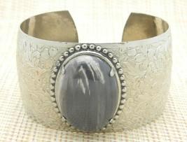 White Gray Agate Oval Stone Silver Tone Adjustable Bangle Cuff Bracelet Vintage - $29.69
