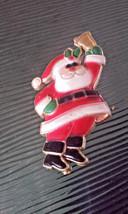 Vintage Made in Hong Kong Plastic Santa Claus Ringing a Bell Pin Brooch - $4.75