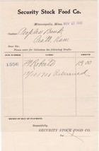 U.S. Security Stock Food Co. 1901 Minneapolis Returned Invoice  Ref 41386 - $7.59
