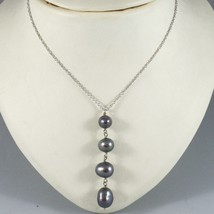 18K WHITE GOLD LARIAT NECKLACE ROLO CHAIN FW ROUND OVAL DROP BLACK PEARL PENDANT image 2