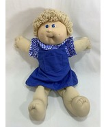 Vtg Coleco 1985 Cabbage Patch Kids Doll Tan Hair w/Outfit Blue Dress #9 HM - $17.81