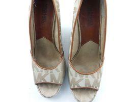 MICHAEL KORS Womens Wedges 7.5 Tan Cabana Peep Toe Platform Espadrilles $144 image 8