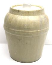 "Vintage Storage Glazed Stoneware Crock 8"" Half Gallon Ceramic w/ Lid Pri... - $32.71"