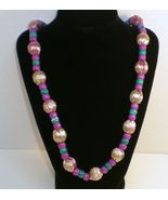 Gold Ribbon wrapped bead tie necklace purple teal green beads - $15.70