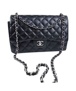 100% Authentic Chanel BLACK QUILTED LAMBSKIN JUMBO CLASSIC DOUBLE FLAP B... - $3,999.99