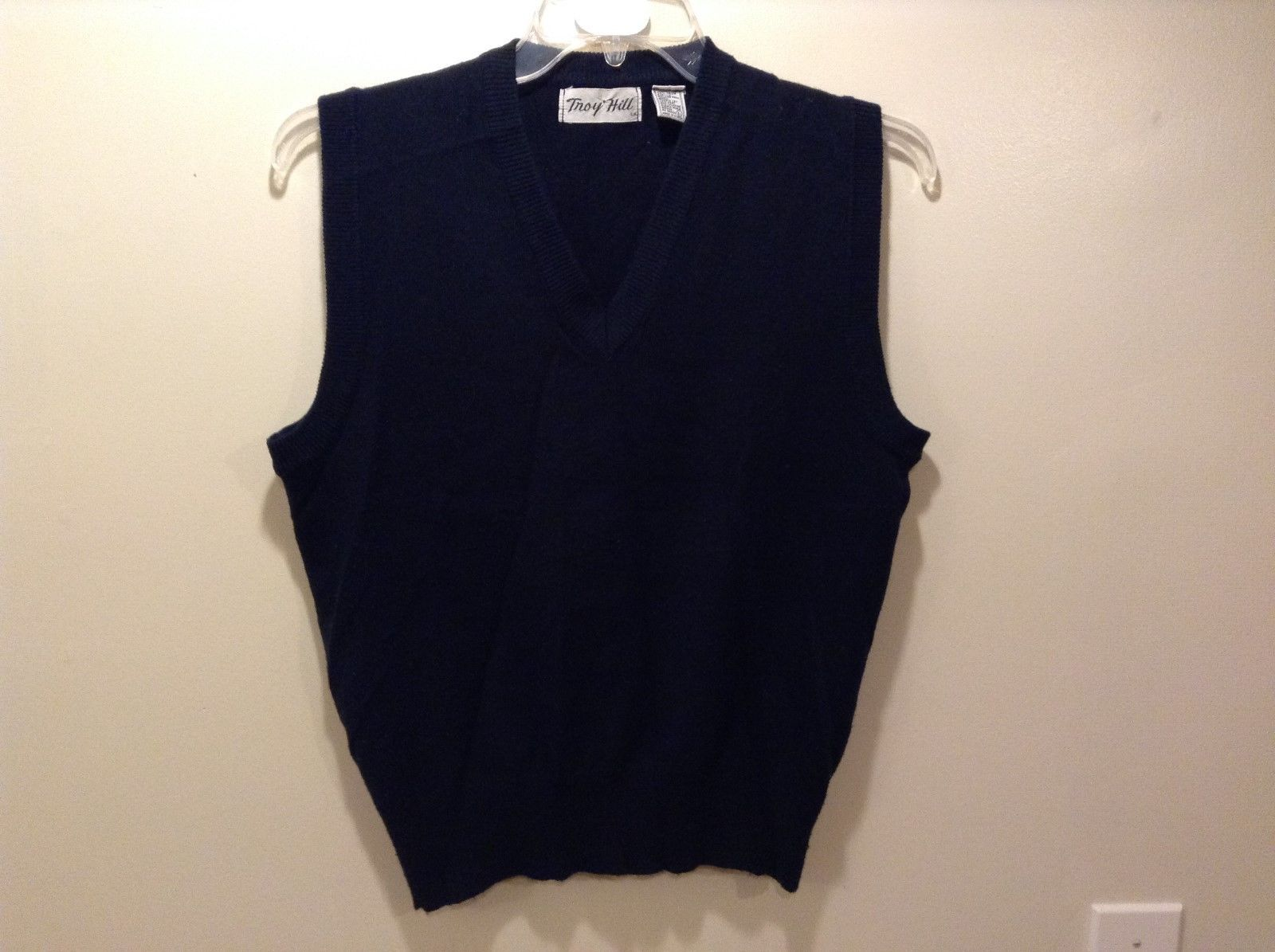 Troy Hill Men's Navy Blue V-Neck Sweater Vest Sz LG