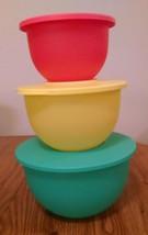 NEW Tupperware Impressions Bowl 3 pc Set Guava Lemonade Sea Green with S... - $29.74