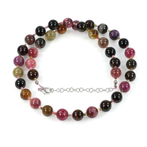 Multi Tourmaline Smooth & Faceted Beads Necklace with 925 Silver Chain -... - $78.99