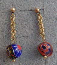 VTG 14K Yellow Gold Chain Stud Dangle Earrings Venetian Millefiori Glass... - $32.99