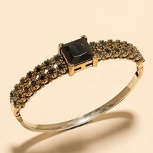 Real Black Spinal Bangle Bracelet 925 Sterling Silver Two Tone Christmas... - $29.62