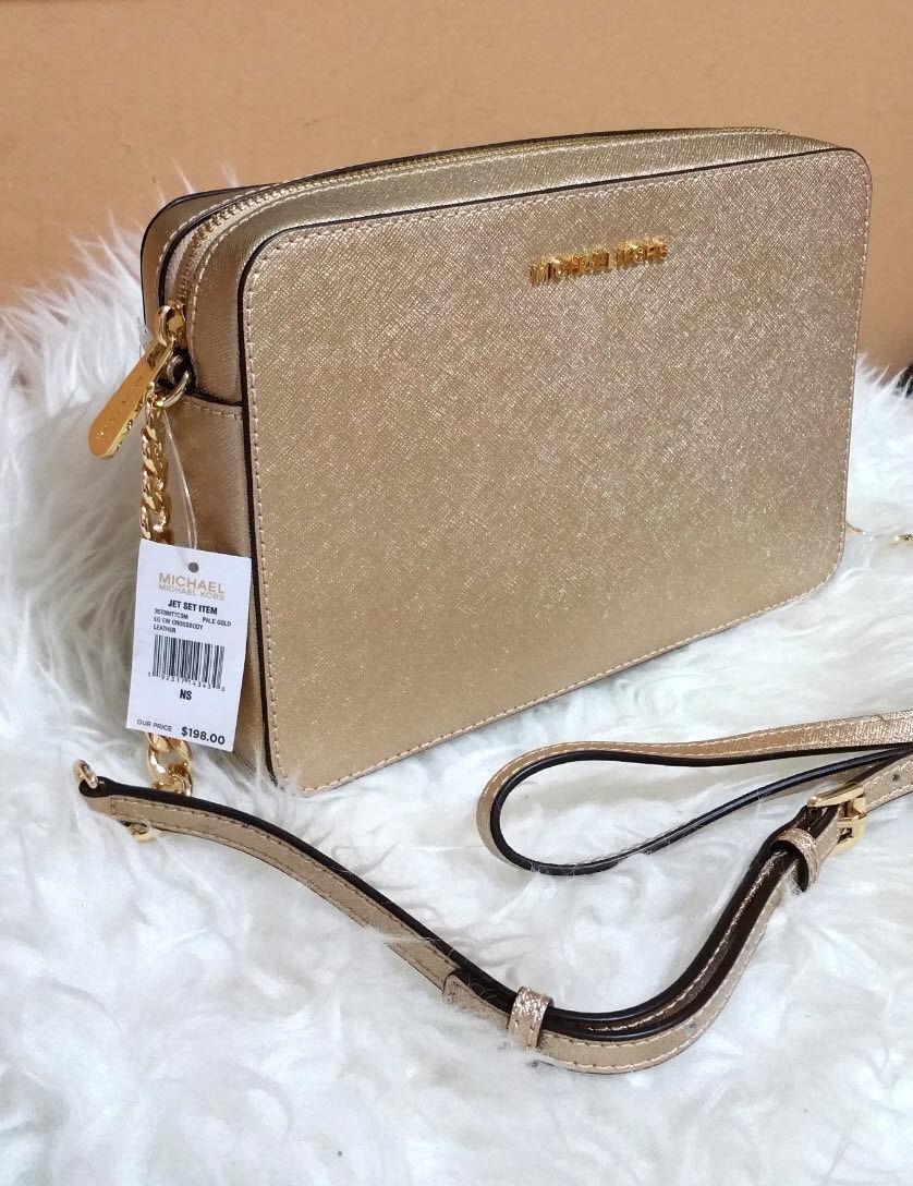 d45a74b0ce76e Michael Kors Jet Set Large East West Saffiano Leather Crossbody Bag Pale  gold