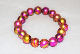 Pink and Gold Acrylic Swirl Bead Stretch Bracelet  - $12.00