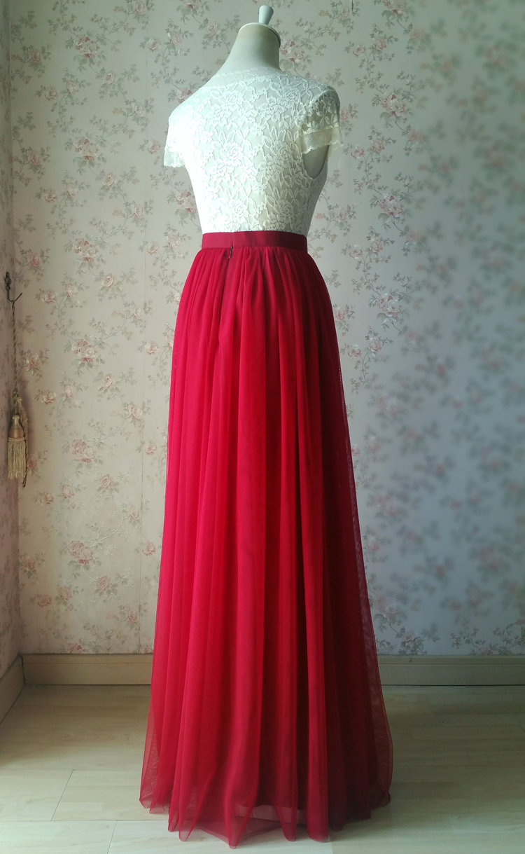 Red tulle maxi bridesmaid wedding skirt 38 750 07