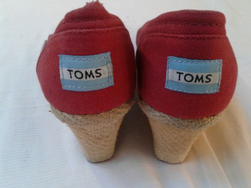 a0cabd4cb8a Toms womens sandals shoes wedge red canvas jute rope espadrilles 8.5 peep  toe