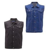 Men's Classic Button Up Casual Cotton Stretch Denim Biker Jean Jacket Vest