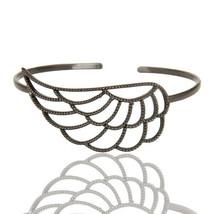 Black Rhodium 925 Silver Half Wing Design Art Deco Openable Palm Bracelet - $35.25